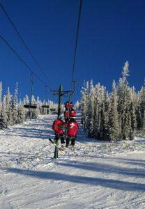 Patrol on the ski lift.